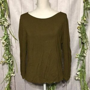 Eileen Fisher sz M Green Top Blouse Boat Neck